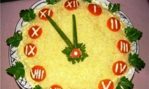 салат новогодние часы-