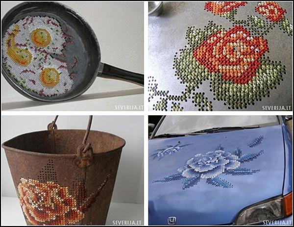 Вышитые крестиком металлические объекты: машины, посуда, предметы быта
