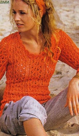 Летний пуловер спицами