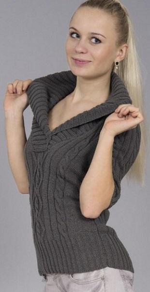Пуловер с шалевым воротником