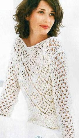 Вязание спицами - ажурный пуловер
