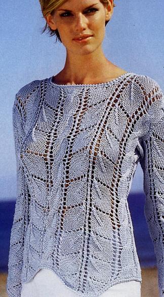 Женский пуловер связать спицами