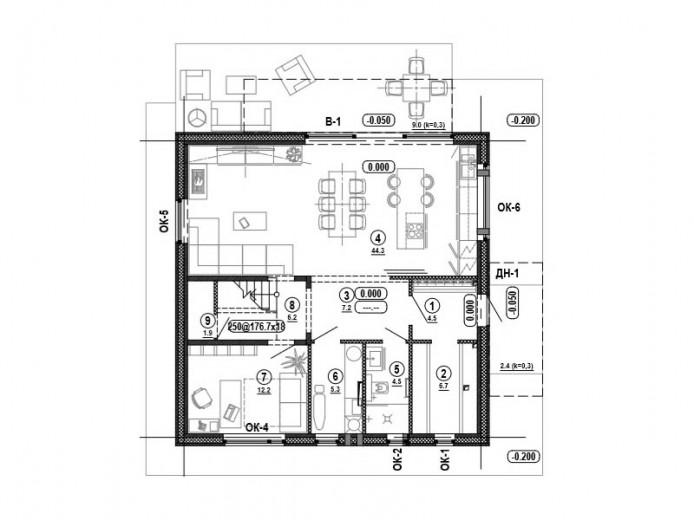 Проект «Дом Куб». План первого этажа