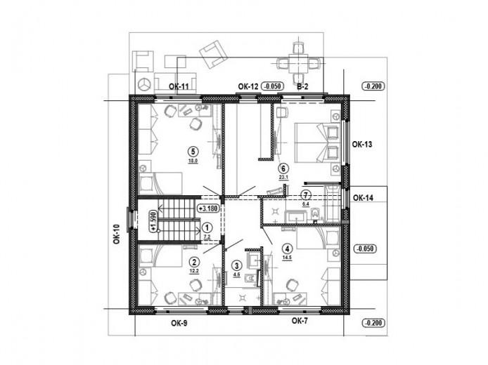 Проект «Дом Куб». План второго этажа