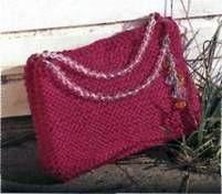 Вязаные платок и сумка ярко розового цвета