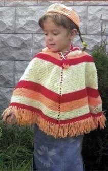 Вязаное детское пончо и шапочка размер: на 3 4 годика
