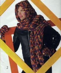 Вязаный шарф капюшон и варежки