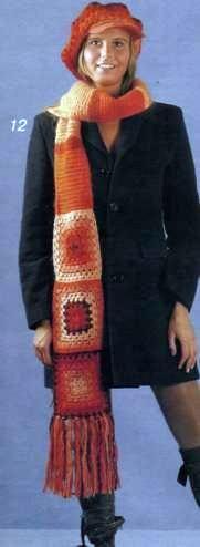 Вязаный кепи и шарф обхват головы 56 см, шарф: 200 х 16 см (без бахромы)