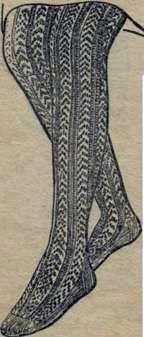 Вязаные ажурные чулки