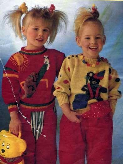 Вязаный пуловер с собакой и кошкой Размеры: 98/104 (110/116)
