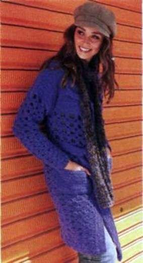 Вязаное лиловое пальто и меланжевый шарф размеры: 36 40