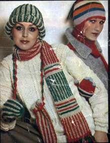 Шапочка, шарф, варежки, схема вязания спицами
