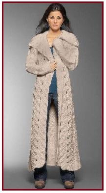 пальто вязанное спицами