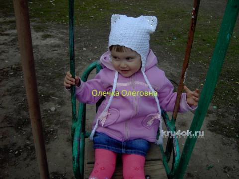Шапочка для девочки. Работа Олечки Куц вязание и схемы вязания