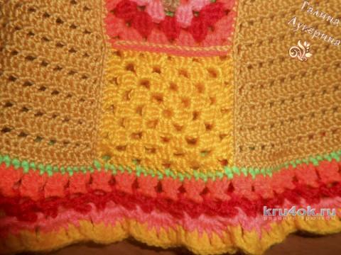 Платье - сарафан для девочки. Работа Галины Лукериной вязание и схемы вязания