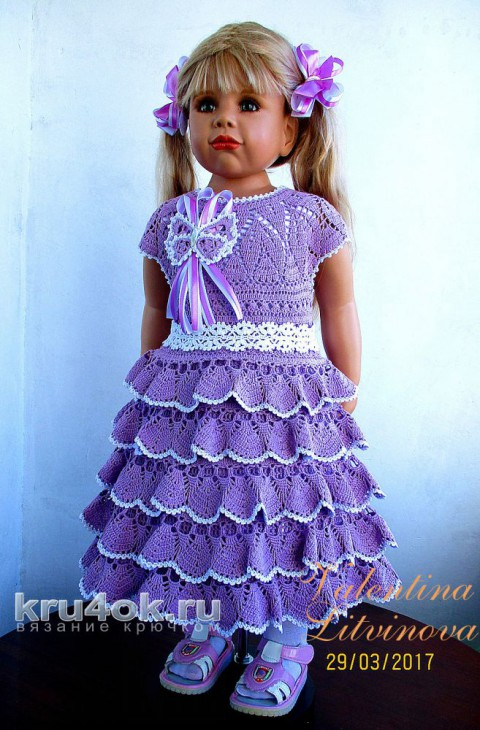 Платьице для девочки. Работа Валентины Литвиновой вязание и схемы вязания