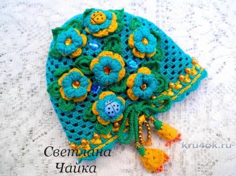 Ажурная шапочка для девочки. Работа Светланы Чайка вязание и схемы вязания